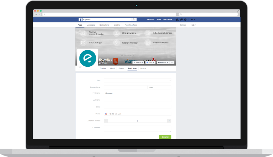 Facebook page tab with the booking form