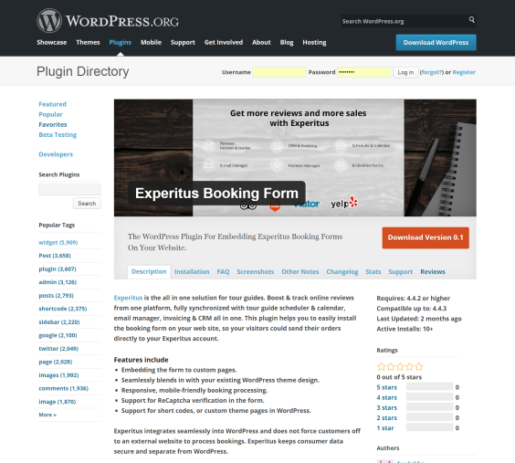 WordPress plugin for the Experitus booking form